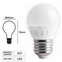 Lâmpada LED E27 230V 5W Leds Smd Branco Quente