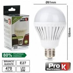 Lâmpada E27 5W 230V 18 Leds Globo Branco Quente 470Lm Prok