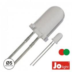 Led 5mm Multicor Vermelho E Verde Difuso Jolight