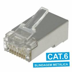 Ficha Telef.-Rede Rj45 8Vias Cat6 8P8C Metálica