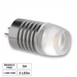 Lâmpada leds G4 1.5W 12V 2 Leds 2835 smd branco frio