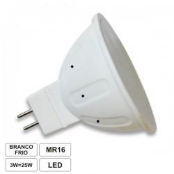 Lâmpada LED MR16 3W_30W 12V Dicróica Branco frio 250lm