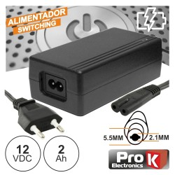 Alimentador Switching 12Vdc 2A 5.5x2.1mm - Prok