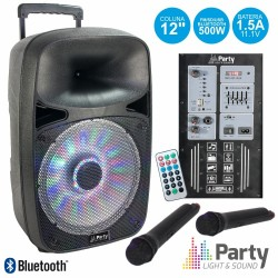 "Coluna PA Portatil 12"" 500W C/ Usb, Sd, FM, BT, Mic. VHF e Bat, Preta -Party"