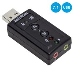 Placa de Som USB 7.1 C/ 2 Fichas Jack