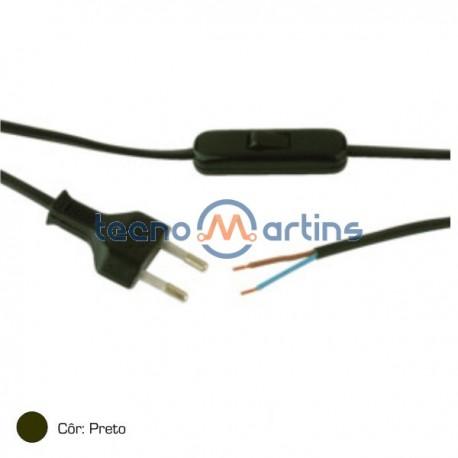 Interruptor Passagem Bipolar c/ Cabo 2M +Ficha Preto