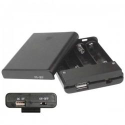 Suporte Pilhas p/ 4 AA c/ Conector Usb E Interrutor