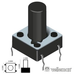 Comutador Micro Switch 6X6mm Altura 9.5mm Velleman
