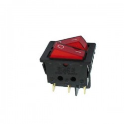 Interruptor Duplo On-Off c/Ilumi 10A-250V Dpst Vermelho