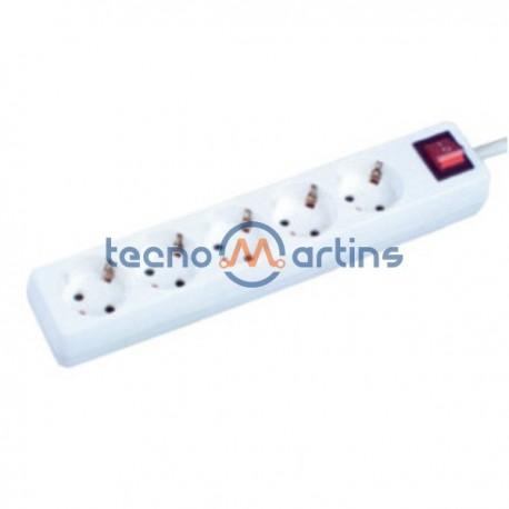 Tomada Eléctrica c/ 5 Saídas E Interruptor 3M Branco Edh