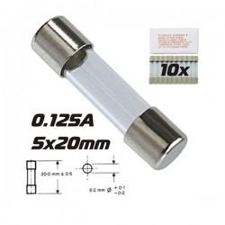 Fusível 5X20 Fusão Rápida 0.125A