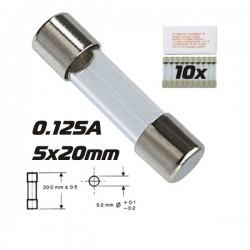 Fusível 5X20 Fusão Lenta 0.125A (10X)