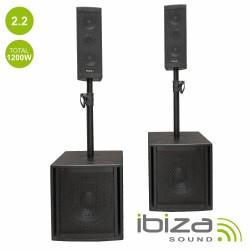 Conjunto de Som BI-Amplificado USB/SD/BT 1200WMÁX - IBIZA