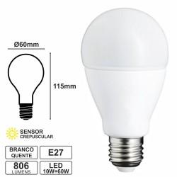 Lâmpada E27 10W-60W 230V LED Crepuscular Branco Quente 806LM