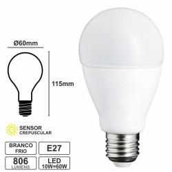 Lâmpada E27 10W-60W 230V LED Crepuscular Branco Frio 806LM
