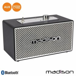 Coluna Bluetooth Vintage 15W Preto - MADISON