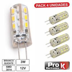 Lâmpada G4 3W 12V 24 Leds SMD 3014 Branco Quente 4x - PROK