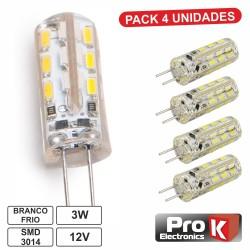 Lâmpada G4 3W 12V 24 Leds SMD 3014 Branco Frio 4X - PROK