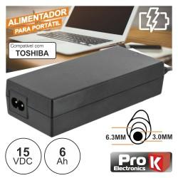 Alimentador para TOSHIBA 15V 6A 90W 6.3X3.0mm PROK