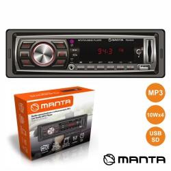 Auto-Rádio MP3 WMA 4x10W C/ FM/MMC/SD/USB AUX - MANTA