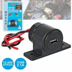 Ficha USB p/ Automóvel / Mota 12-24V 2.1A