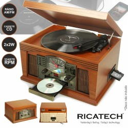 Gira-Discos 33/45/78 RPM FM/ CD/ k7 2X2W Retro Ricatech
