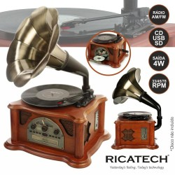 Gira-Discos 33/45/78RPM FM /CD/ Corneta 2X2W Retro RICATECH