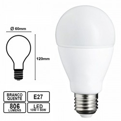Lâmpada LED E27 220V 10W 3000k 806Lm Branco Quente - Oro