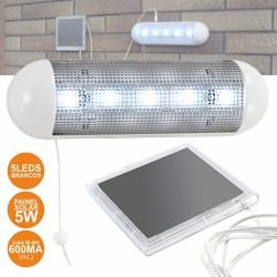 Armadura LED c/ 5 Leds C/ Painel Solar e Bateria Interna