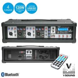Amplificador Áudio Profissional 4 Canais 120W - VSOUND
