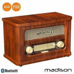 Rádio Portátil FM BT LED Vintage - MADISON
