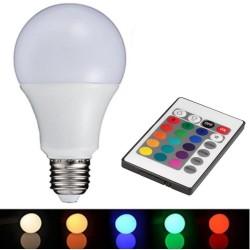 Lâmpada LED E27 230V 9W Branco Quente + Rgb C/ Comando
