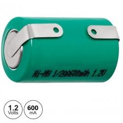 Bateria Ni-Mh 1/2AA 1.2V 650mA c/ Patilhas