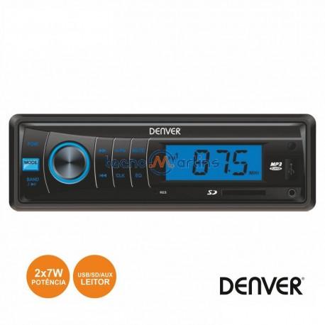 Auto-Rádio MP3 WMA 7WX2 C/ FM/MMC/SD/USB AUX - DENVER