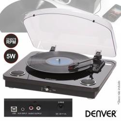 Gira-Discos 33/45/78RPM Vintage 5W Preto - DENVER