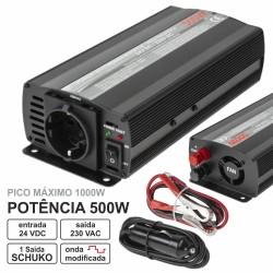 Conversor 24V-230V 500W Onda Sinusoidal Modificada