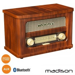 Rádio Portátil FM BT LED Vintage - MADISON