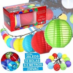 Grinalada De 10 Bolas Coloridas Com 20 Leds 9.5m 230v