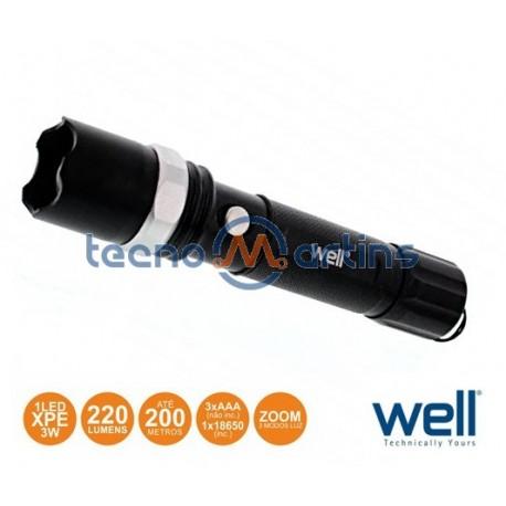Lanterna C/ 1 LED XPE 3W 3 Níveis Luz ZOOM 220LM - WELL
