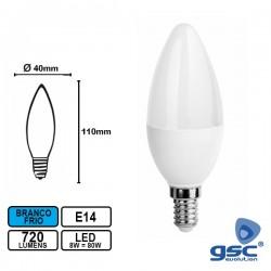 Lâmpada LED E14 Vela 220V 8W 6000k 720lm Branco Frio - GSC