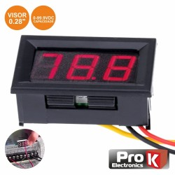 Voltimetro Digital LED Vermelho 0V-99.9VDC PAINEL - PROK