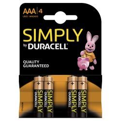 Pilha Alcalina AAA Lr03 Duracell Simply