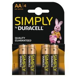 Pilha Alcalina AA Lr6 Duracell Simply