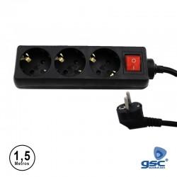 Extensão 1.5mt C/ 3 Tomadas + Interruptor Preto - GSC