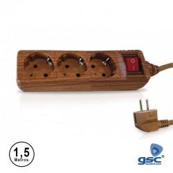 Extensão 1.5mt C/ 3 Tomadas + Interruptor Cor Madeira - GSC