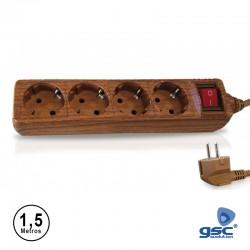 Extensão 1.5mt C/ 4 Tomadas + Interruptor Cor Madeira - GSC