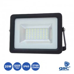 Projector LED 20w 220v Ip65 6000k 2700lm Preto - GSC