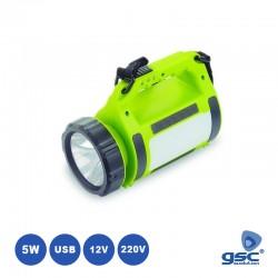 Lanterna LED 5W Recarregável 220v/12v C/ Carregador USB - GSC