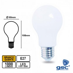 Lampada LED E27 11w 3000k 1000lm 360º - GSC