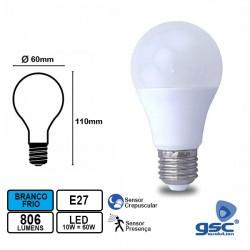 Lampada LED E27 10w 6000k C/ Sensor Crepuscular + Sensor Presença - GSC
